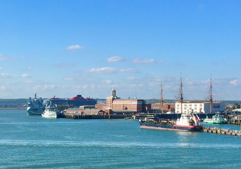 Great cruise ship delaying our arrival in Portsmouth