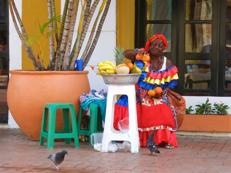 Fruit sellers in Caribbean outfit