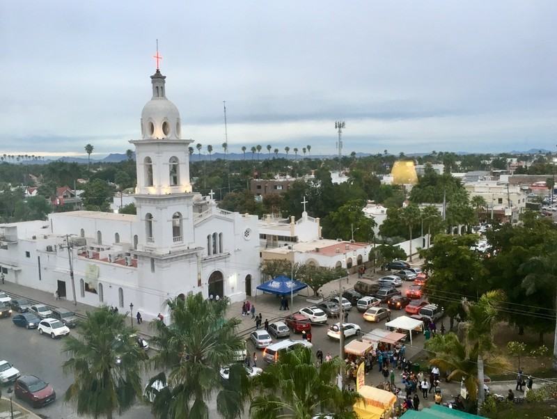 View from our hotel room toward Los Mochis central plaza
