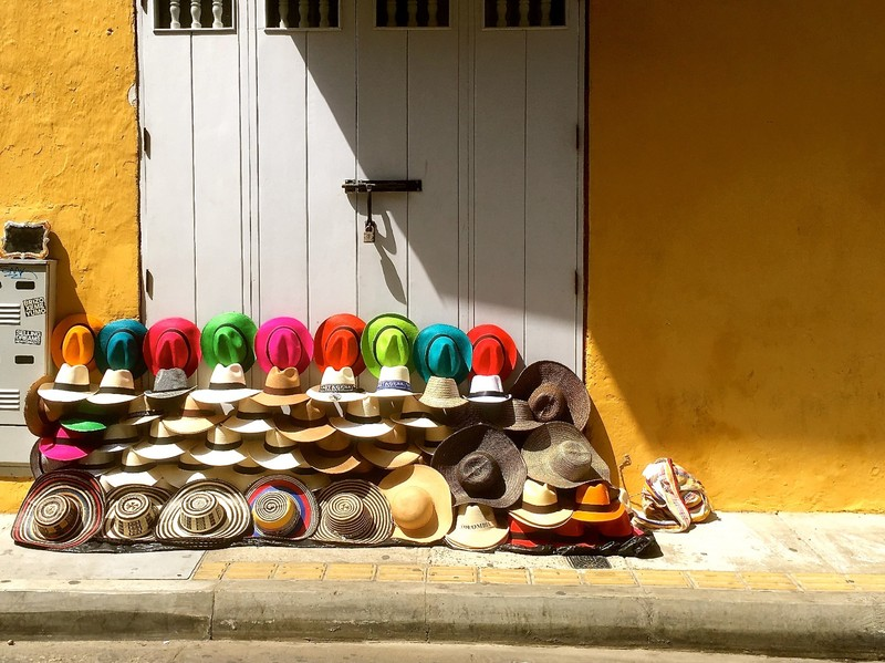 Sombreros for sale in the street of Cartagena