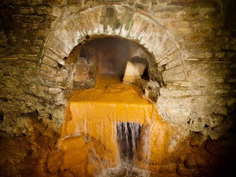 Hot spring inside the Roman Baths
