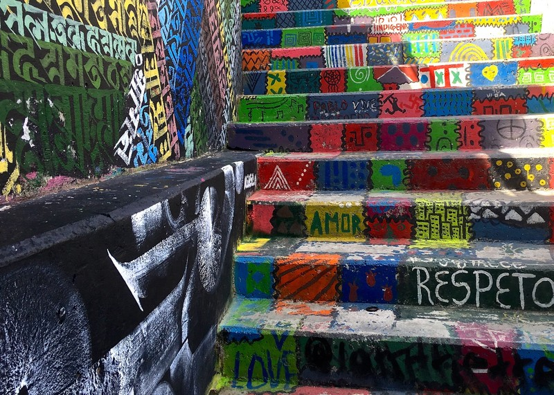 Painted stairs in Comuna 13