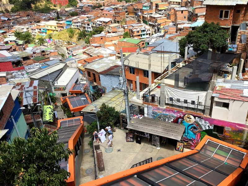 View of the escalators (orange framed structure) in Comuna 13