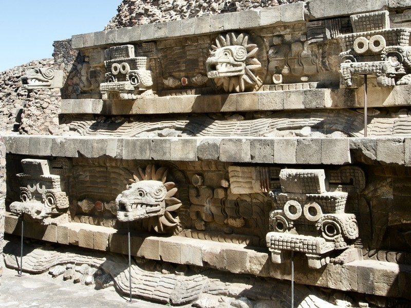 Temple of the feathered serpent in Teotihuacán