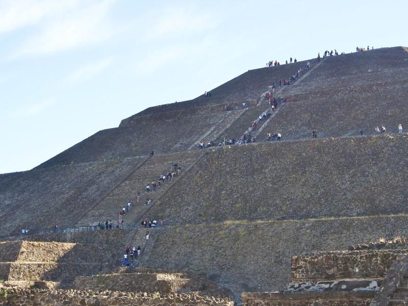 Starting climbing the Pyramid of the Sun