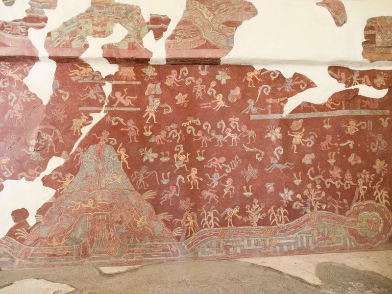 Mural inside one of the many ancient houses