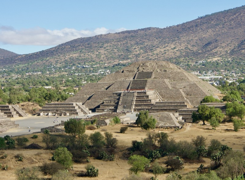View of the Pyramid of the Moon from the Pyramid of the Sun
