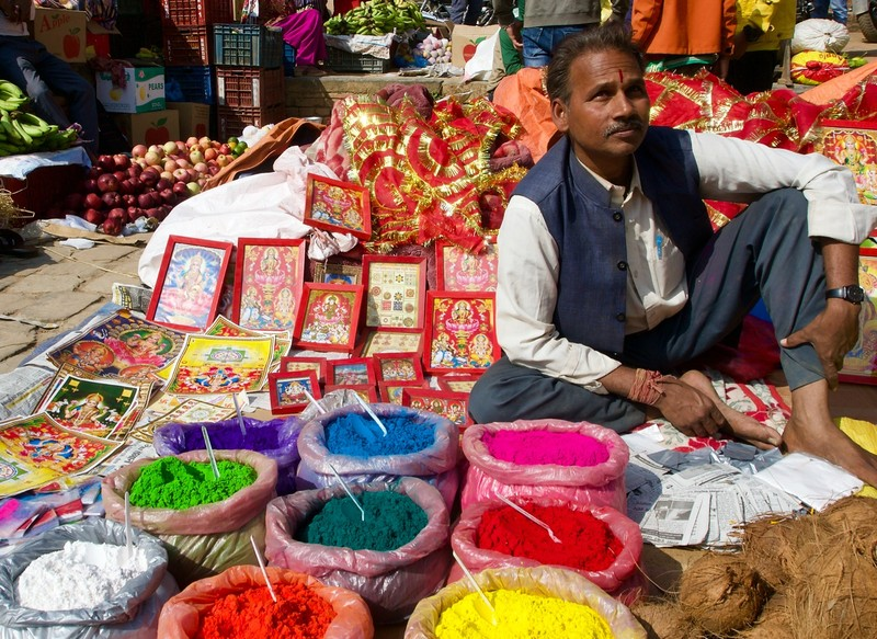 Traders preparing for Diwali Festival with colour powder for sale