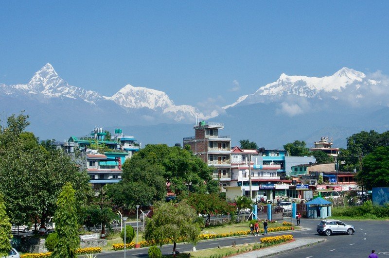 View from Pokhara Airport of the Himalaya