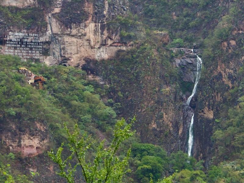 Waterfall and memorial
