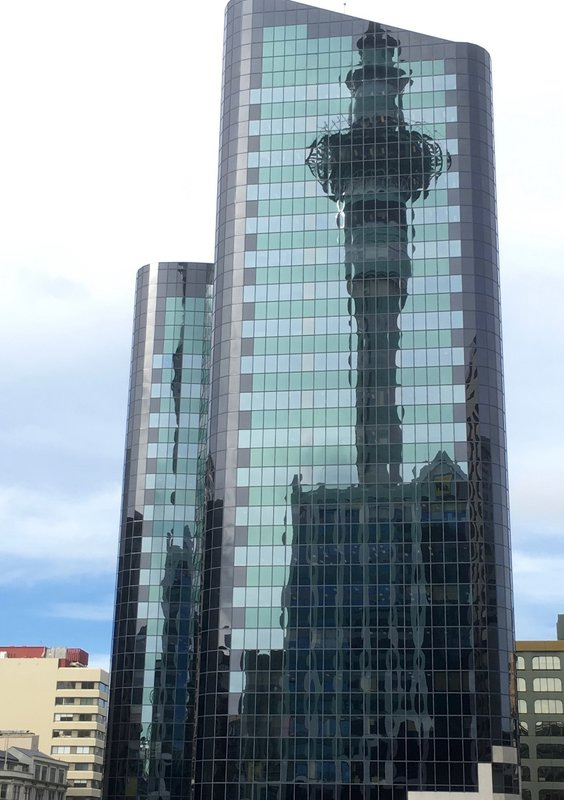 Sky Tower reflection Auckland