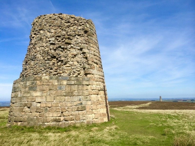 The 2 chimneys at the end of the flue on the moors