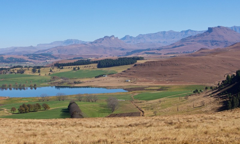 View over the Drakensberg in Underberg area
