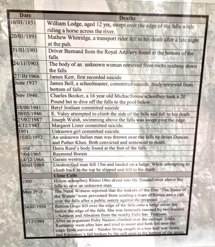 Howick Falls plaque