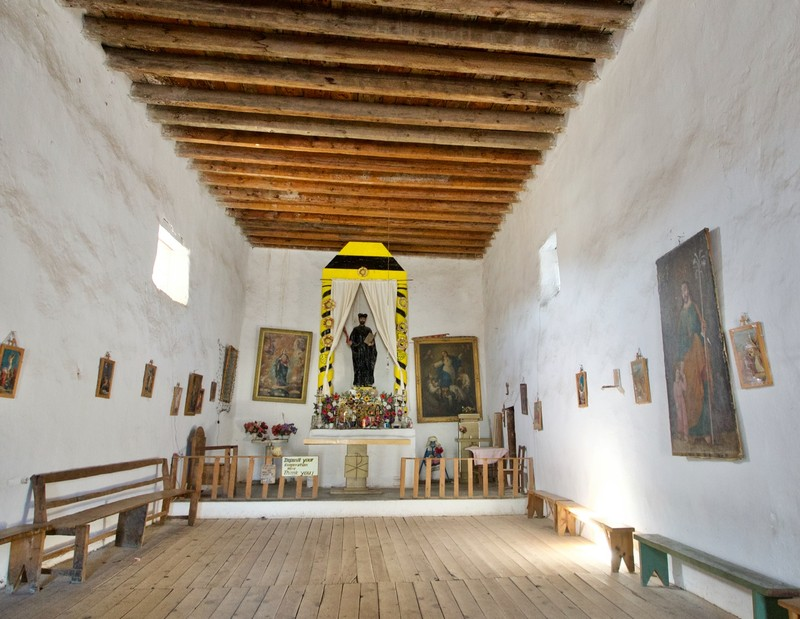 Inside the Mision of San Ignacio, kept very simple to allow the Tarahumara to dance as it is how they worship