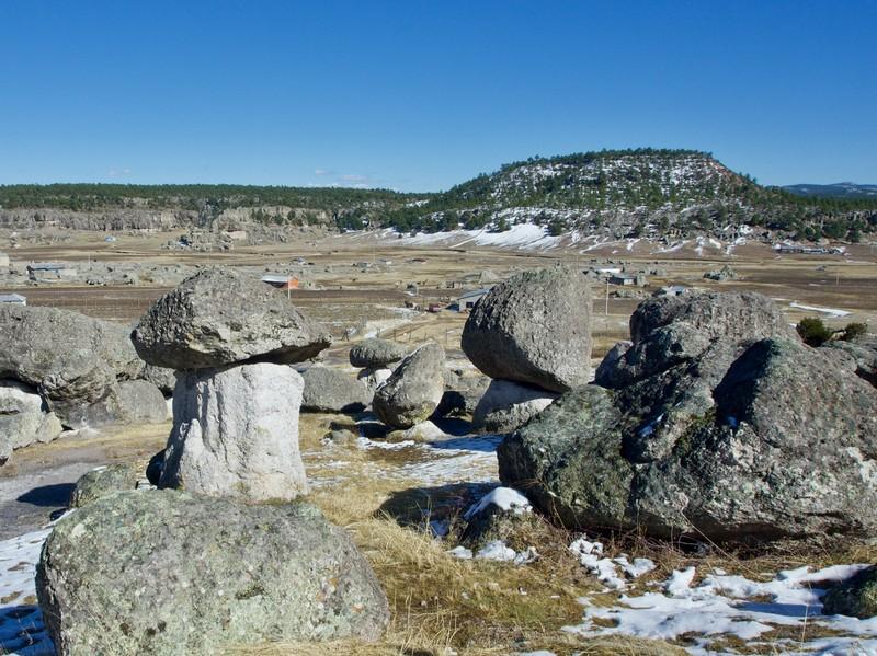 Valle de los Hongos Mushrooms rock formation on the Tarahumara land