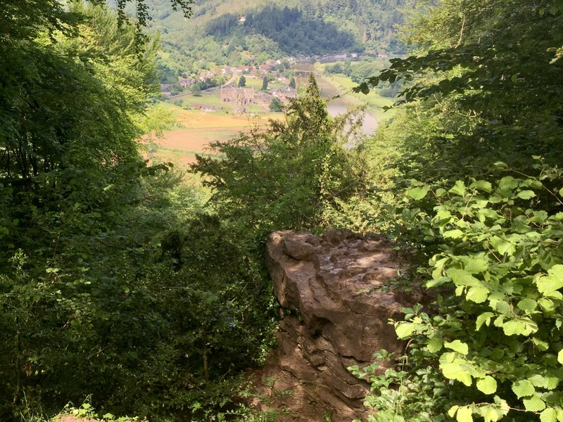 View down to Tinten Abbey from the Devil's Pulpit