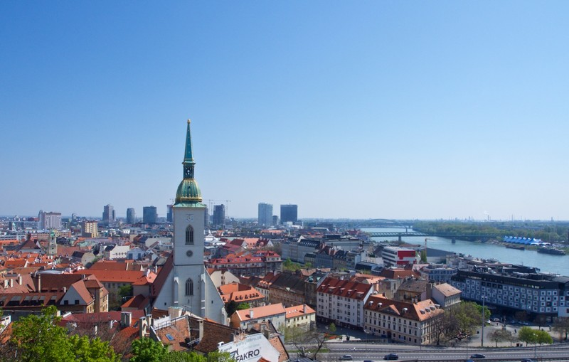 View of old Bratislava and the Danube River