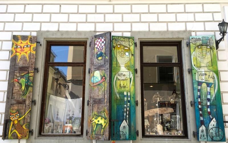 Painted shutters in Bratislava