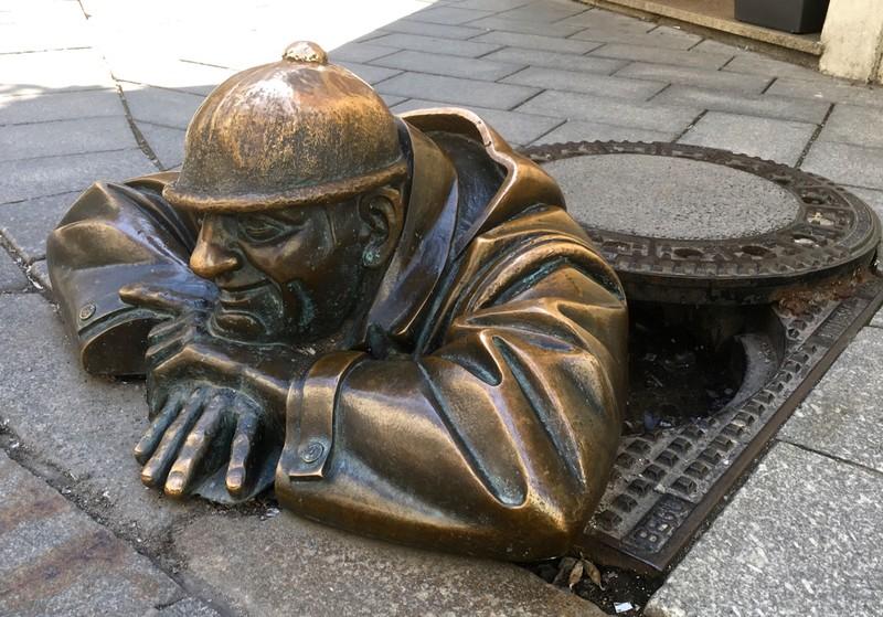 Life size bronze statue in the centre of Bratislava
