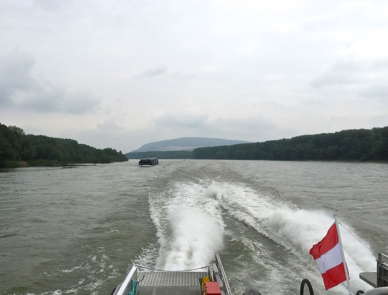 Passing between Slovakia and Austria on the Danube river