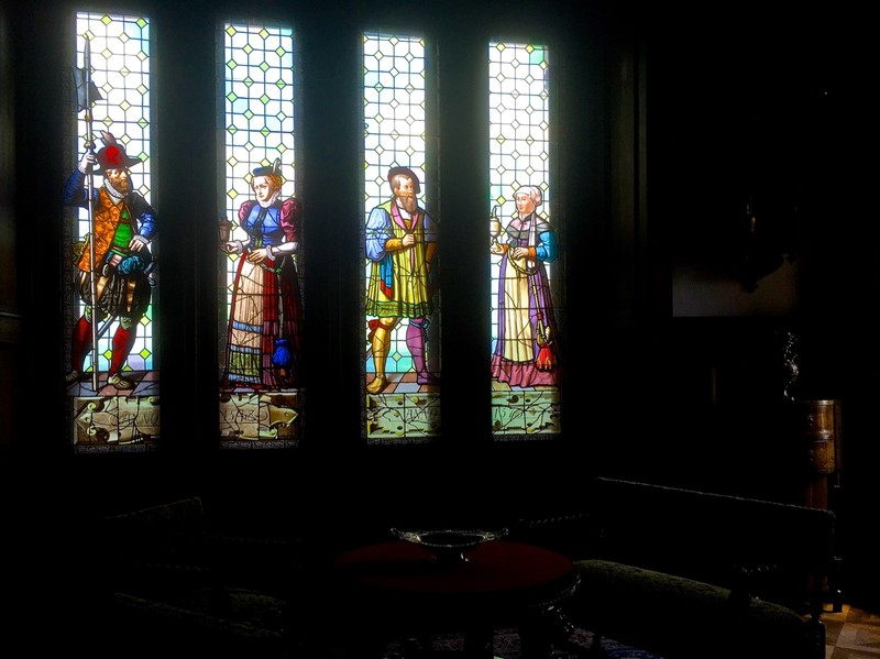 Stain glass window in Bojnice Castle