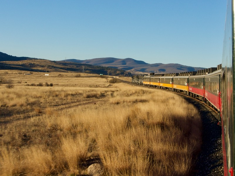Chepe Regional Train leaving Chihuahua