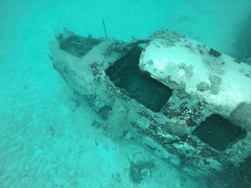 Cockpit of sunken plane