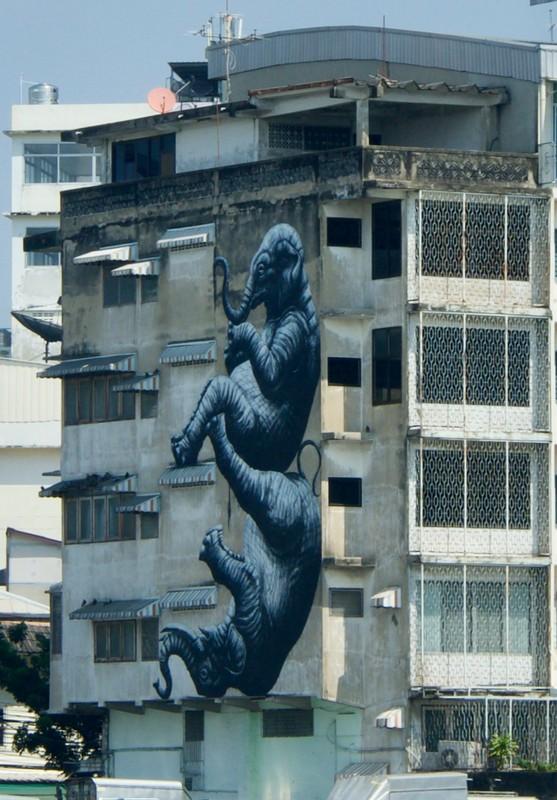 Interesting elephant mural