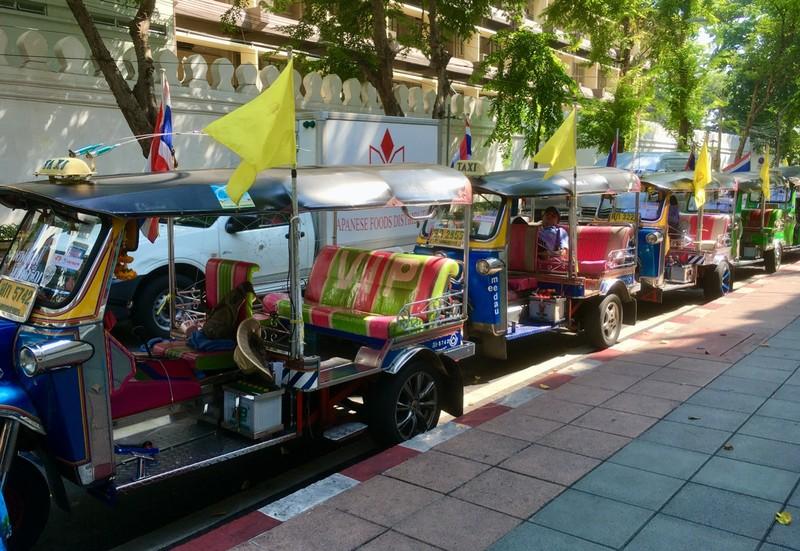 Tuk Tuk rank in Bangkok. Didn't use to be so posh!