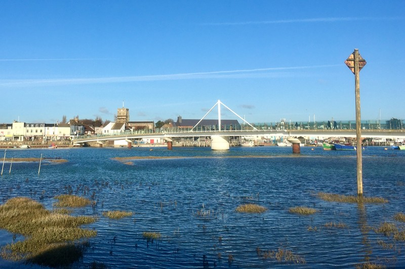 Shoreham pedestrian bridge over the river Adur
