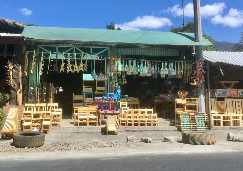 Street shop in a village on a road in Michoacan