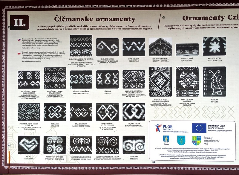Information board in Čičmany as an example of the Slovak language