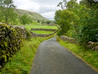 Narrow road in Yorkshire Dales, hoping not to meet a tractor or a truck