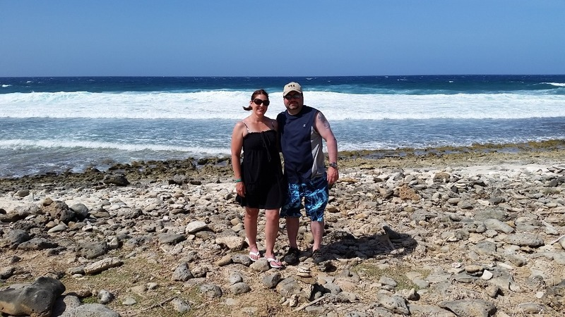 Us on the rocky beach at the northern tip