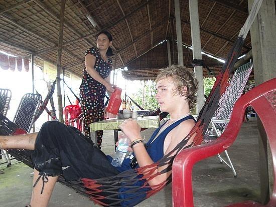 Morning tea rest in hammocks