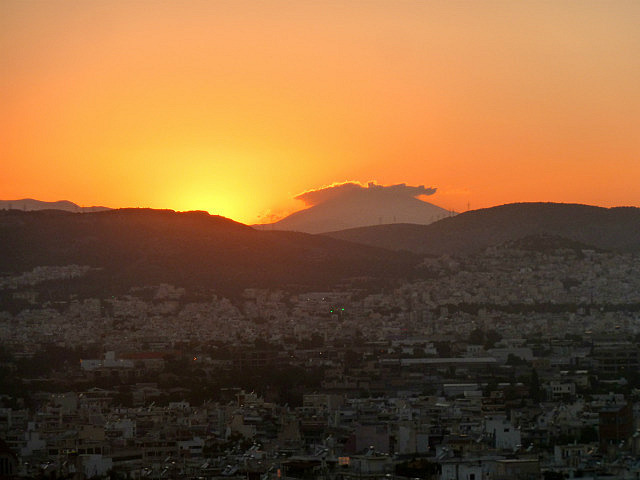 Sunset over the white city of Athens