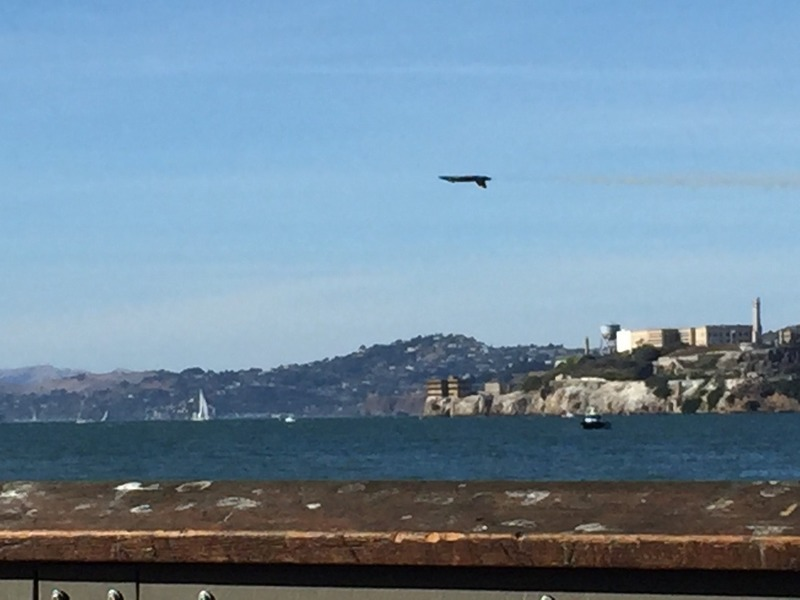 Upside down flying past Alcatraz