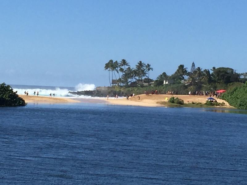 Looking back at the big Waimea Bay surf