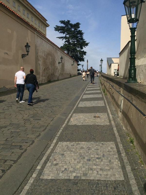 Cobblestoned street up to castle