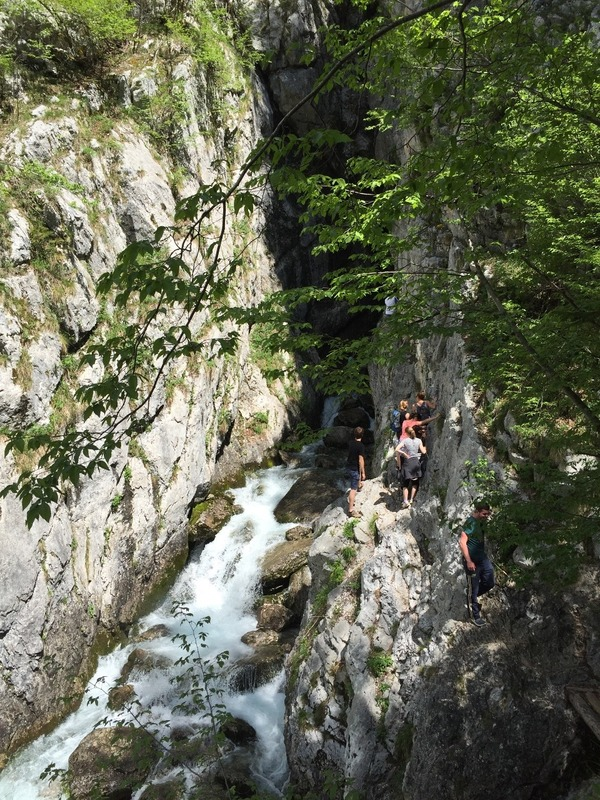 Climbing the cliff face to Soca River source