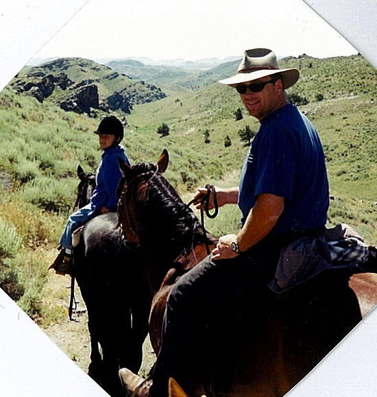 On the trail ride - Nick in the English riding hat