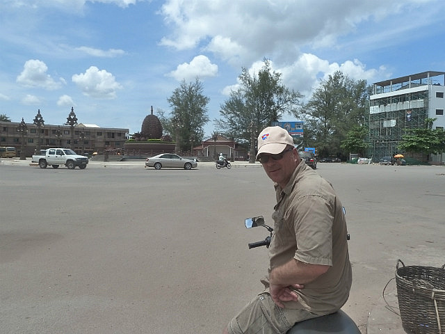 The Big Durians roundabout statue in Kampot