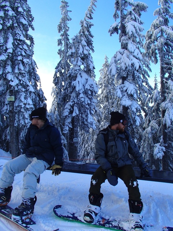Nath and Michael and snow laden trees