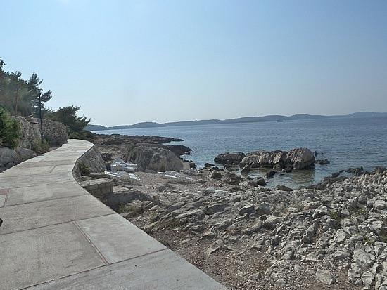 Bike path I rode on past lounges on rocks