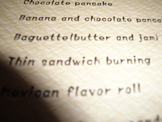Thin Sandwich burning - on a menu! Not game to try