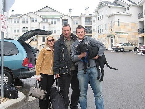 Brad with Adam & Kristina outside their apartment