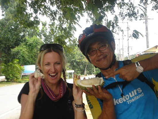 Eating Durian - not nice!!