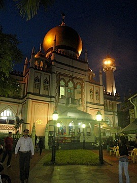 The mosque lit up