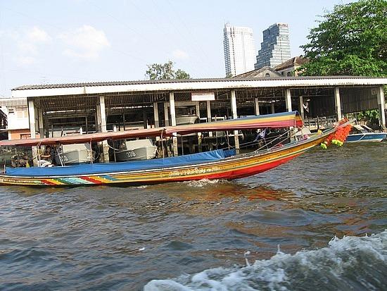 Boats up the  Chao Phraya River in Bangkok